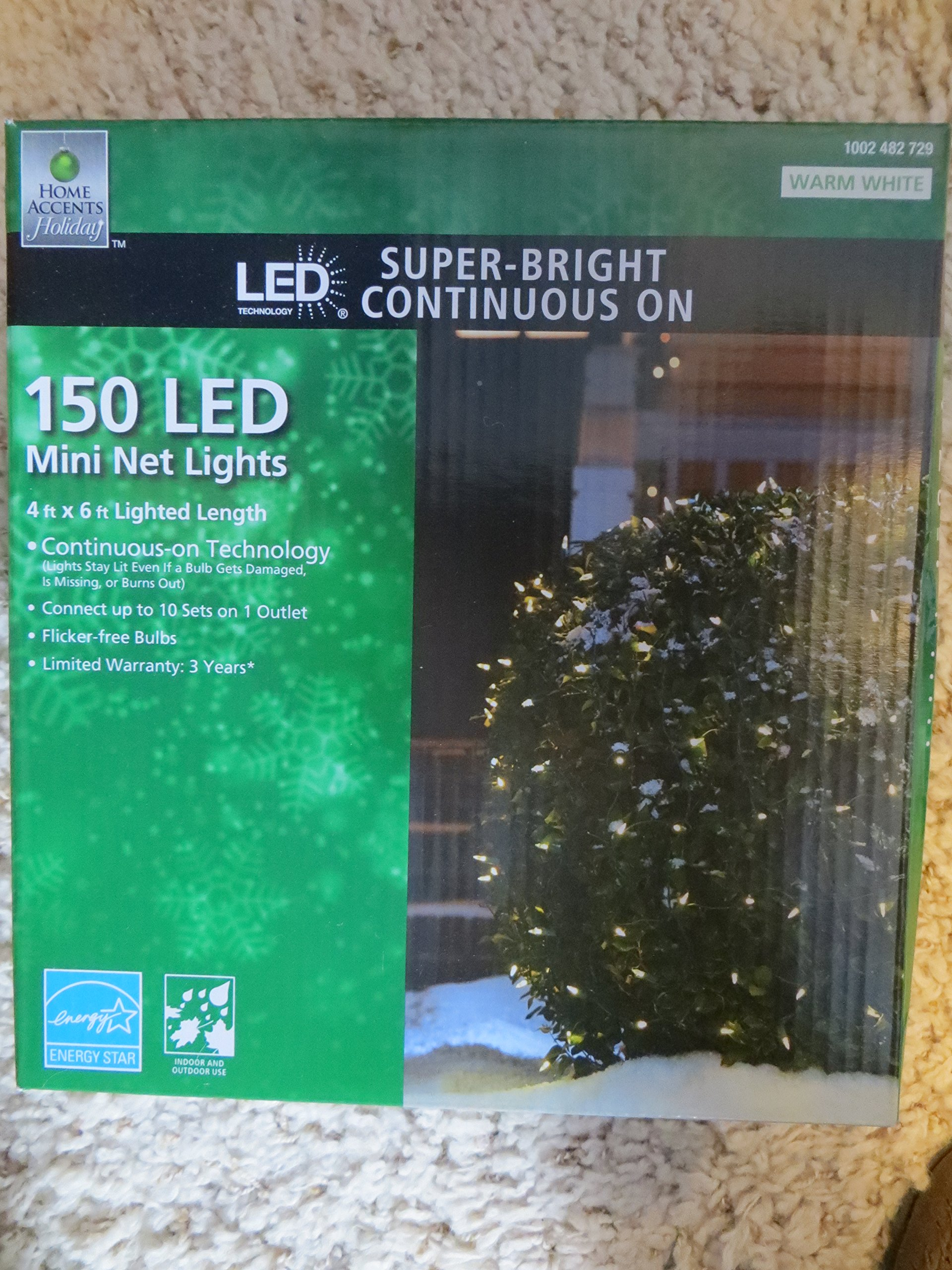 Home Accents 150 LED Warm White Super Bright Continuous ON Mini NET lights