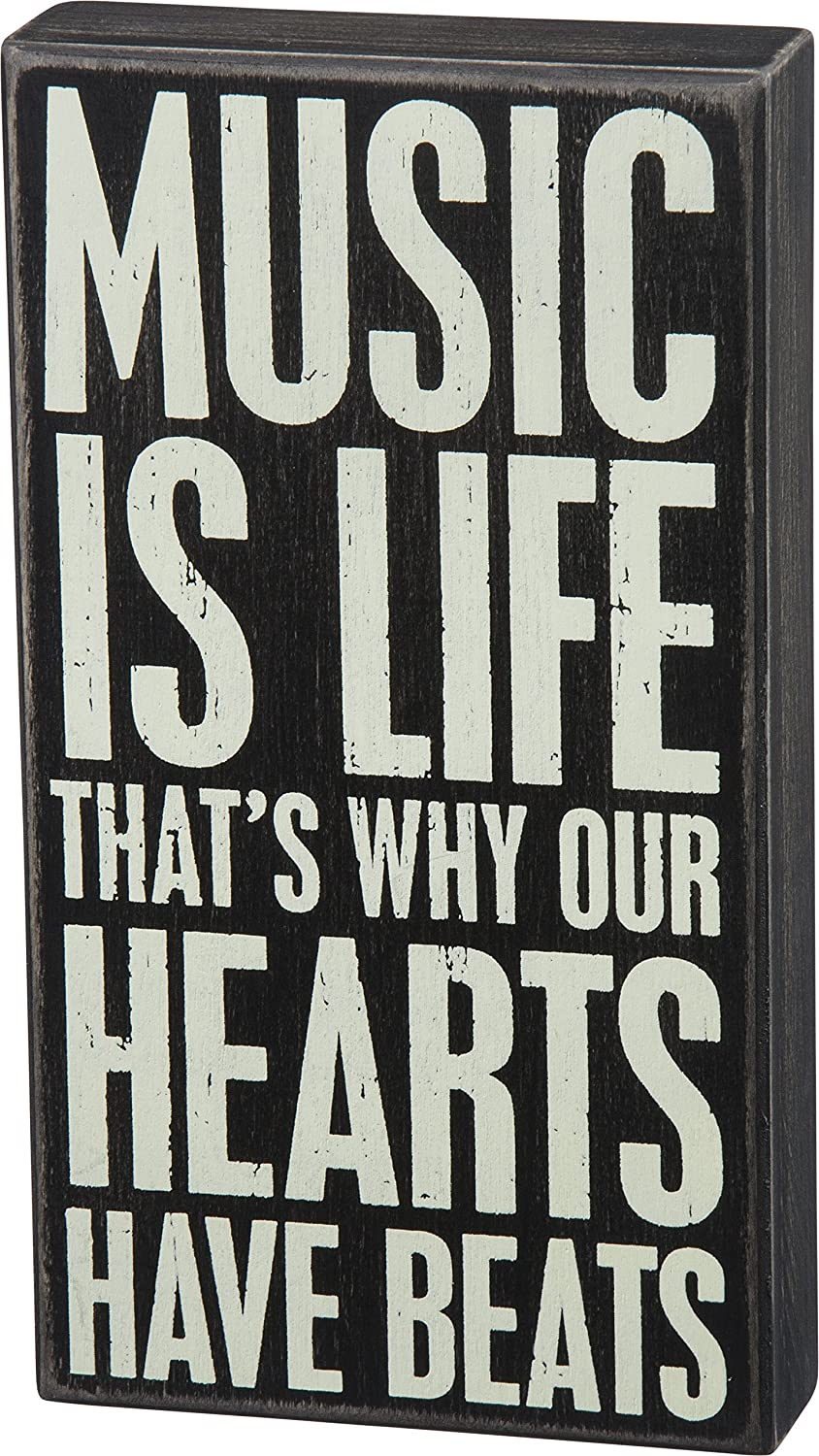 Primitives by Kathy Classic Box Sign, 6 x 11-Inches, Music is Life