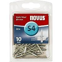 Novus stalen klinknagels, 10 mm lengte, 20 klinknagels met Ø 4 mm, 4,5-6,5 mm klemlengte, voor bevestiging van…