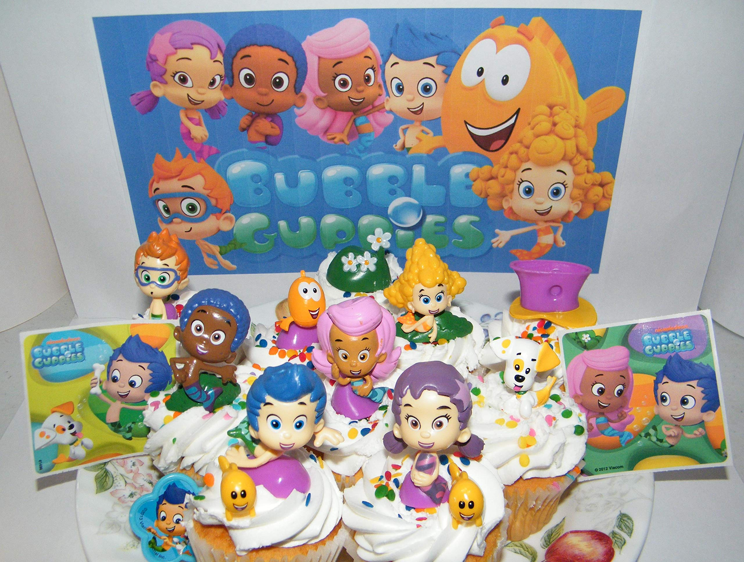 Bubble Guppies Deluxe Cake Toppers Cupcake Decorations 15 Set with 12 Figures, Stickers and BGRing Featuring Gil, Molly, Bubble Puppy and Much More! by Party Fun