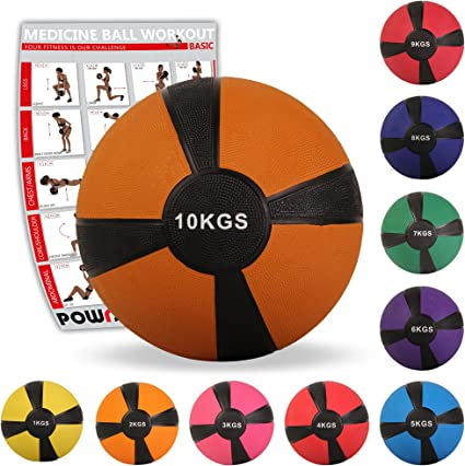 POWRX - Balón Medicinal 10 kg + PDF Workout (Marrón): Amazon.es ...