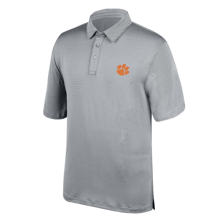 Medium Cement J America NCAA Mens Clemson Tigers Yarn Dye Striped Team Polo Shirt