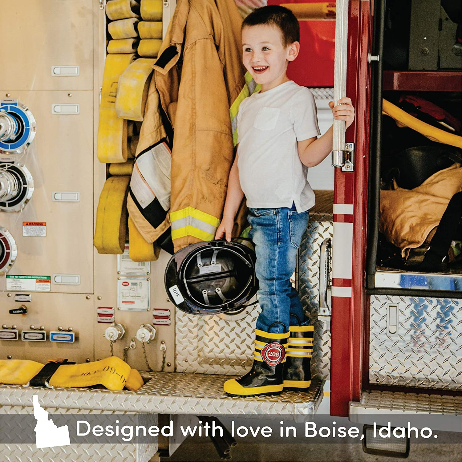LONECONE Rain Boots with Easy-On Handles in Fun Patterns for Toddlers and Kids 12 Little Kid Fire Chief