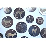 Personalised Dog Pet Identity ID Tag Disc Engraved - tick gift message box to leave engraving details - dog breed - size (20,25.30,32mm) and colour/finish (Silver or Brass)