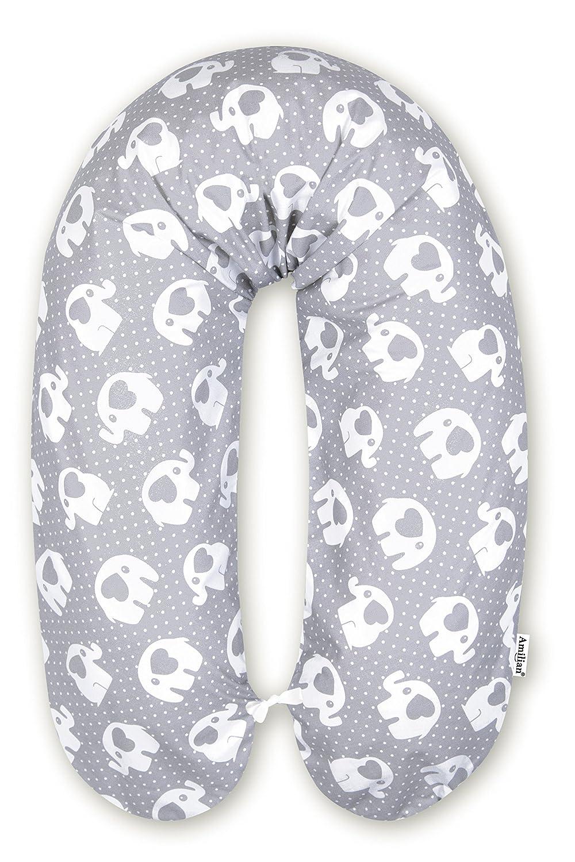 Amilian/® BEZUG f/ür Stillkissen Baby Lagerungskissen Lang Seitenschl/äferkissen 170 cm Sternchen Schwarz