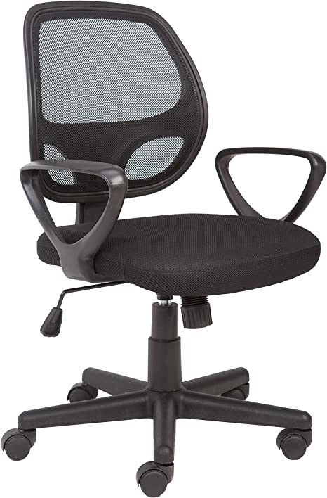 Office Essentials Mesh Office Chair For Home Computer Desk Chair For Office With Arms Small Swivel Chair Black Amazon Co Uk Kitchen Home