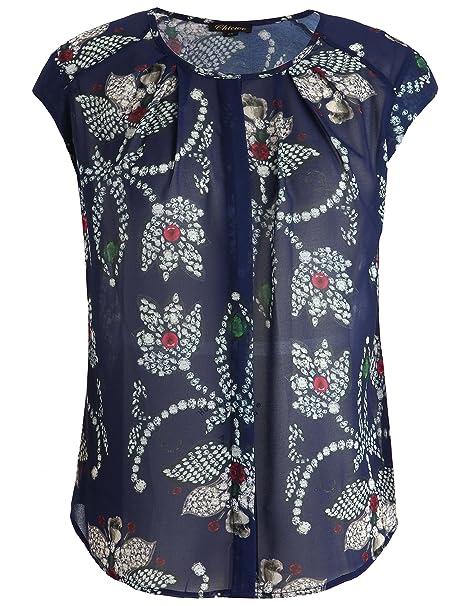 Chicwe Mujeres Tallas Grandes Camisa Top Estampado Floral Escote con Crepes - Blusa Casual en Oficina