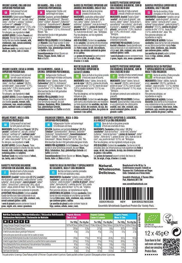 Sevenhills Wholefoods Barritas de proteínas orgánicas, paquete de ...