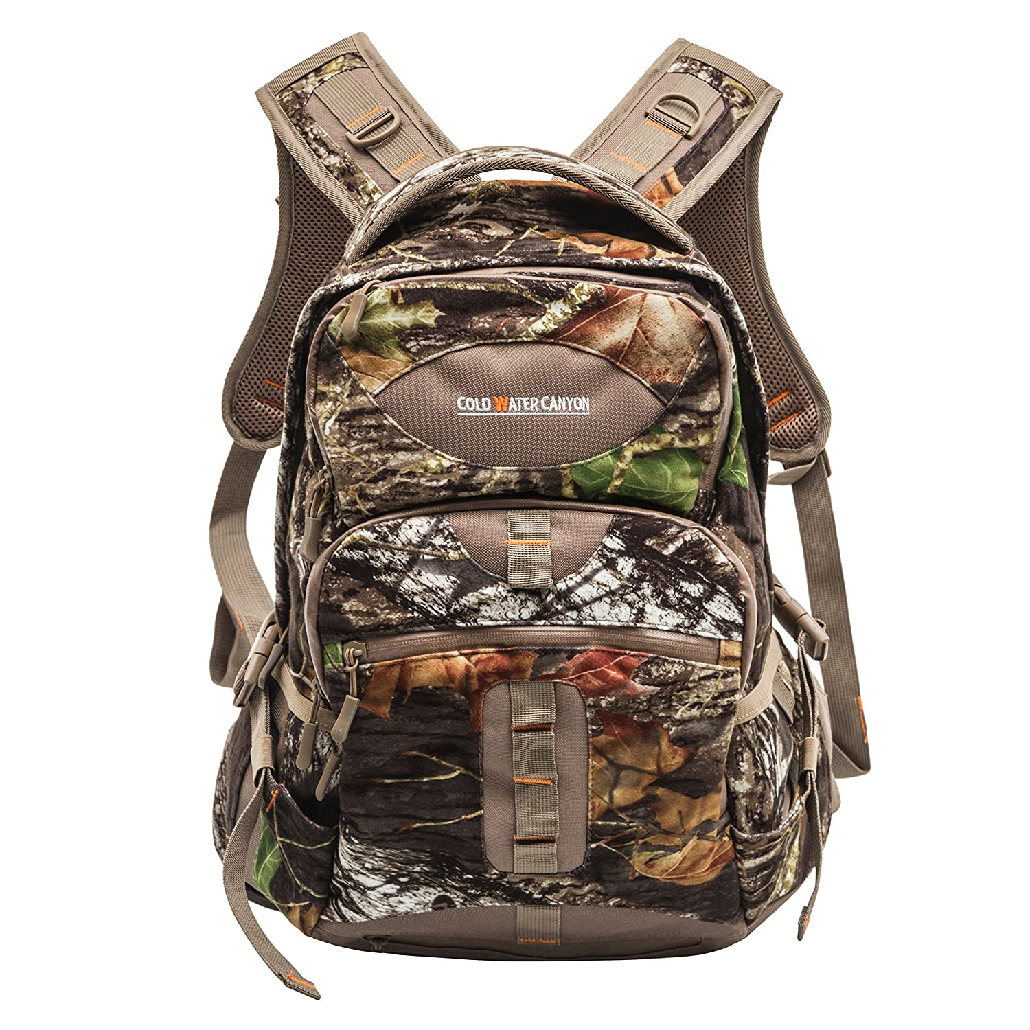 Mossy Oak Camouflage Long Strapped BackPack with Water Resistant Zippers and Bonus Rain Cover Cold Water Canyon