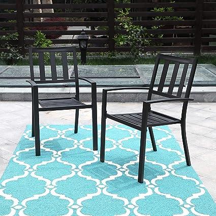 Strange Phi Villa Black Outdoor Patio Metal Steel Dining Arm Chairs Set Of 2 For Garden Backyard Living Room Machost Co Dining Chair Design Ideas Machostcouk