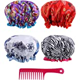 2b0b5a194 Reusable Shower Cap Women Hair - (Pack of 4) Lined Plastic Showercap  Waterproof Bath