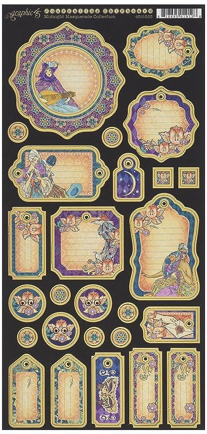 Graphic 45 4501552 Midnight Masquerade Decorative Chipboard