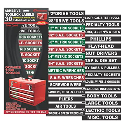 Tool Box Organizer Labels - Green Adhesive Edition - Tough Foil decals for  all toolboxes Craftsman, Snap-On, Cornwell, Husky, Stack On - stainless,