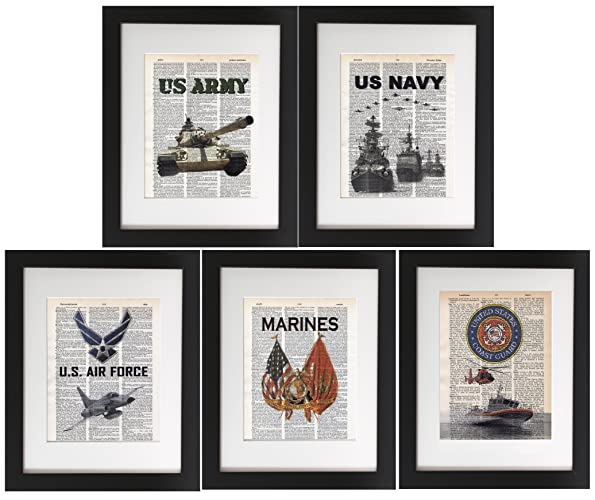 Amazon.com: Military 5 Pack - Upcycled Dictionary Prints 8x10 ...