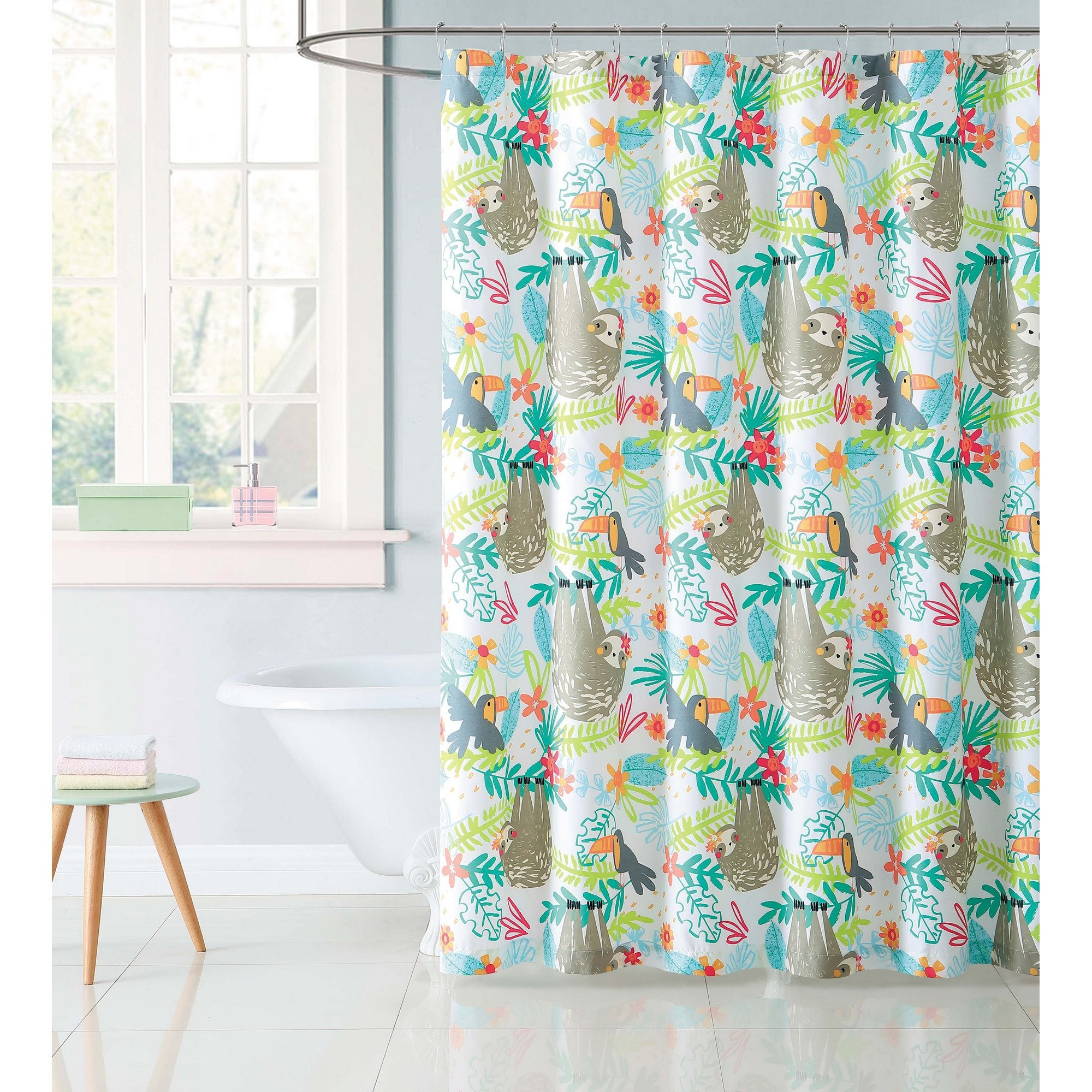 Soft and Cute Laura Hart Kids Hanging Out 72'' x 72'' Shower Curtain,Blue, Red, Green,Relax as Sloths Dangle From the Trees in this Fun Animal Print,Perfect for Your Kids Room