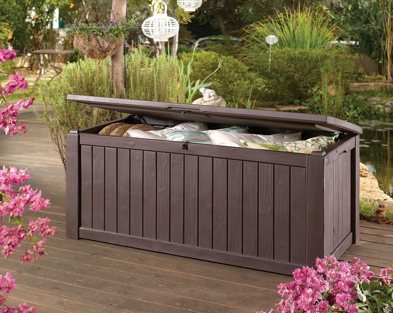 Keter 17190202 Coussin Bo Te Jumbo Storage Box 570 L Aspect Bois  # Coffre De Jardin En Resine