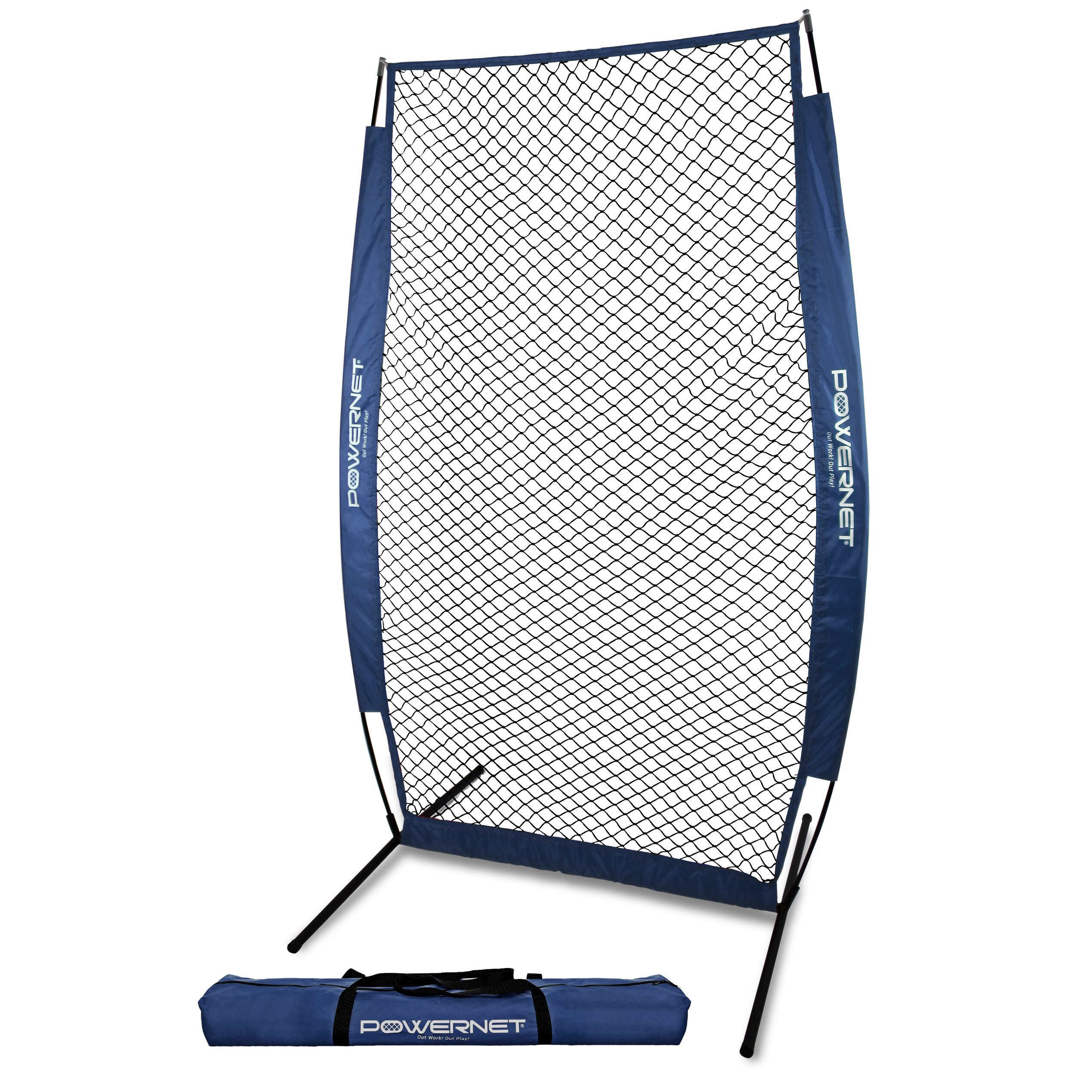 PowerNet I-Screen with Frame and Carry Bag (Navy) | Portable Baseball Pitcher Protection at Batting Practice | Instant Player and Coach Protector from Line Drives Grounders | Heavy Duty Netting