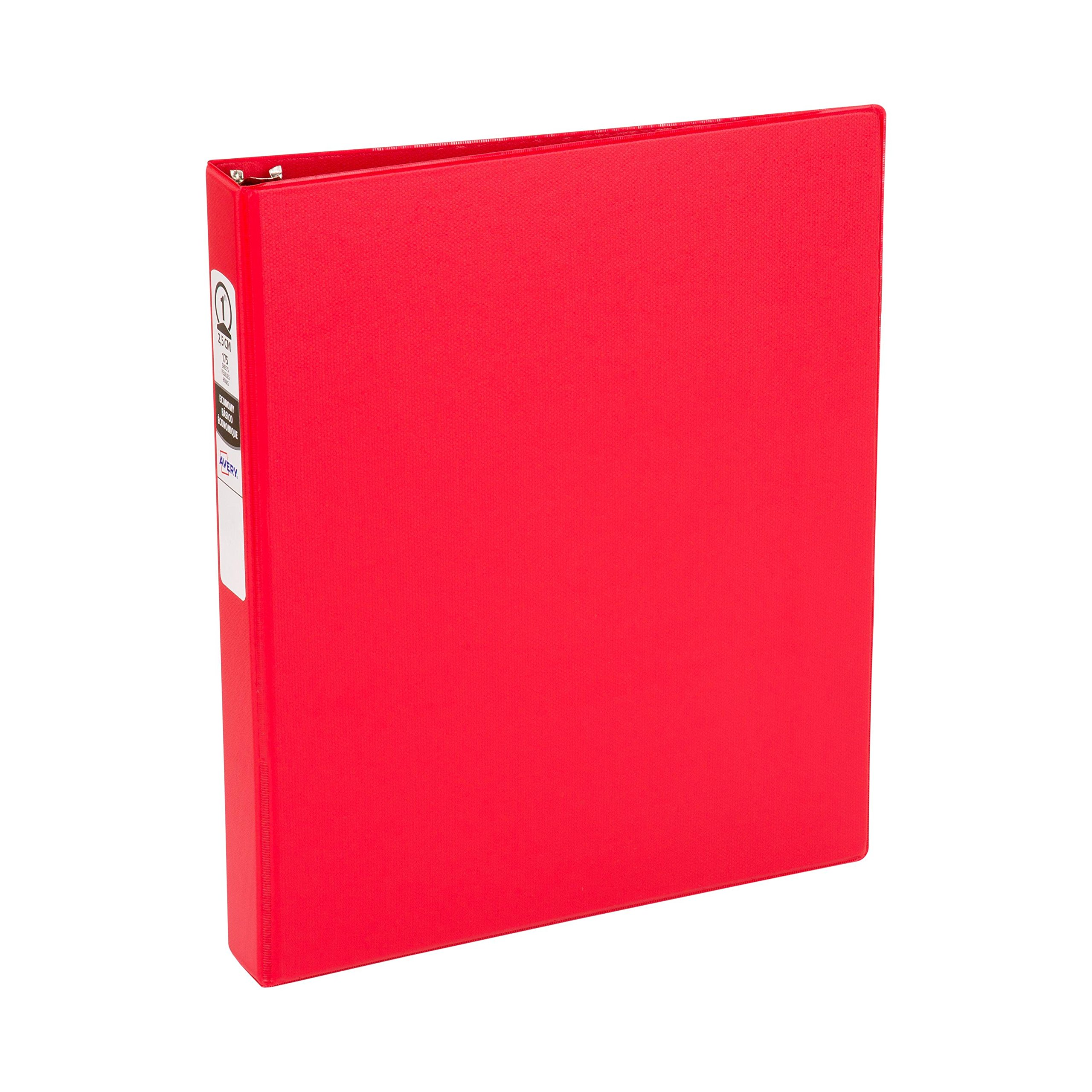 Avery Economy Binder with 1'' Round Ring, Red, Case Pack of 12 (3310)