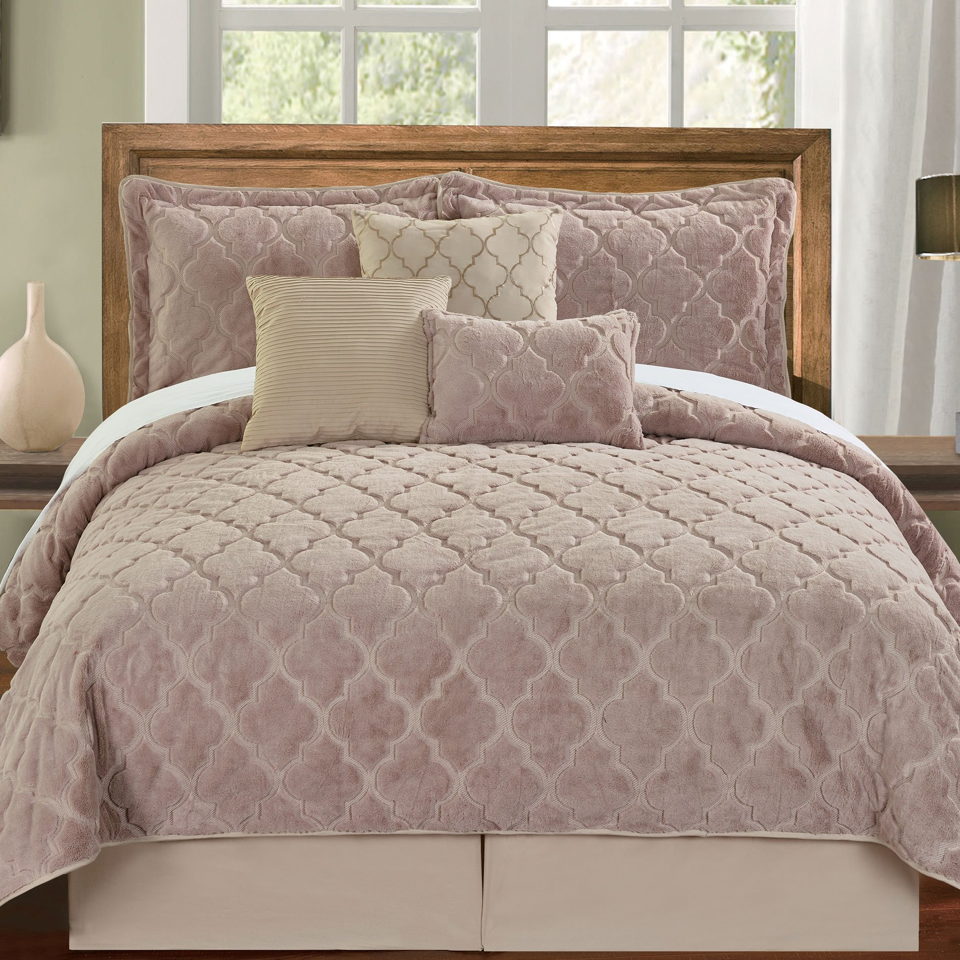 Serenta Faux Fur Ogee Embroidery 7 Piece Bedspread Quilts Set, Queen, Taupe