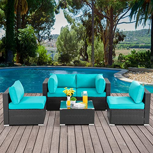 Walsunny 5pcs Patio Outdoor Furniture Sets,Low Back All-Weather Rattan Sectional Sofa