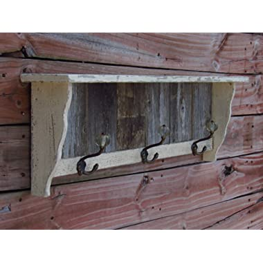 Distressed Coat hook wall shelf, antique looking shelf, handmade in Texas with reclaimed weathered cedar. Farmhousefurnituretx