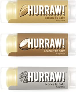 product image for Hurraw! Almond, Coconut, Licorice Lip Balms, 3 Pack Bundle: Organic, Certified Vegan, Cruelty and Gluten Free. Non-GMO, 100% Natural. Bee, Shea, Soy & Palm Free. Made in USA