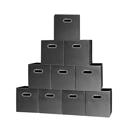 Prorighty [10-Pack, Black] Storage Cubes with Two Handles, Ideal for  Shelves Baskets Bins Containers Home Decorative Closet Organizer Household  Fabric