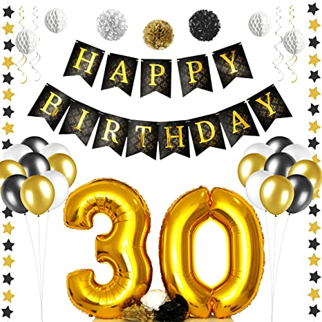 amazon com 30th birthday party decorations kit gold and black