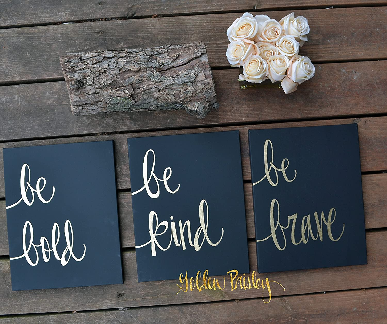 Set of Three Black and Gold Be Bold Inspirational Canvas Wall Art Painting