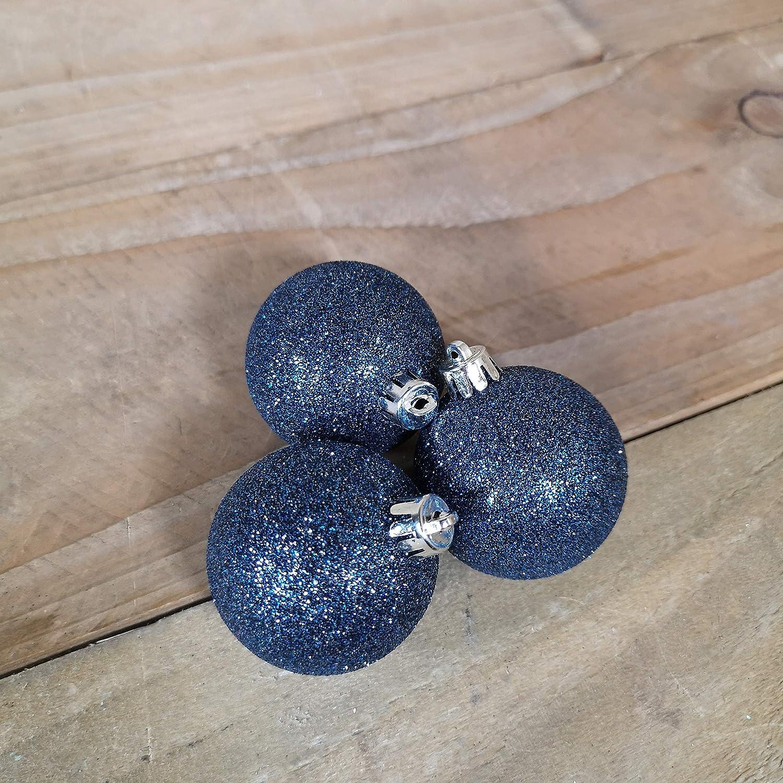 30 Pack Kaemingk Assorted Shatterproof Baubles Night Blue