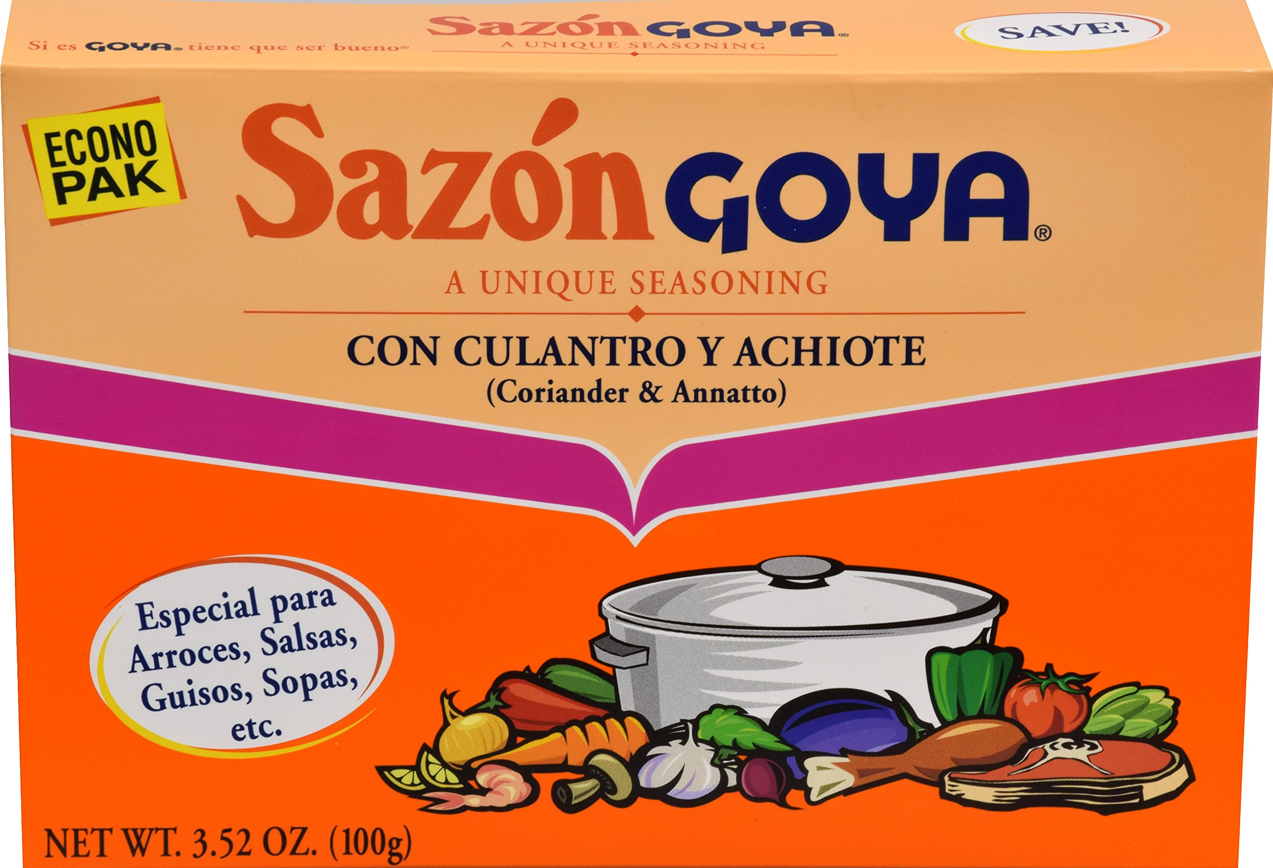 Goya Foods Sazón Seasoning With Coriander & Annatto, 3.52 Oz Box