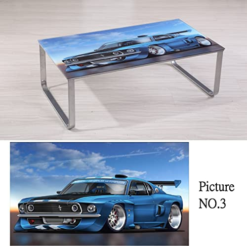 Container Furniture Direct Carter Collection Scenic 8mm Thick Tempered Glass Top Coffee Table with Rounded Steel Legs, Blue Sports Car