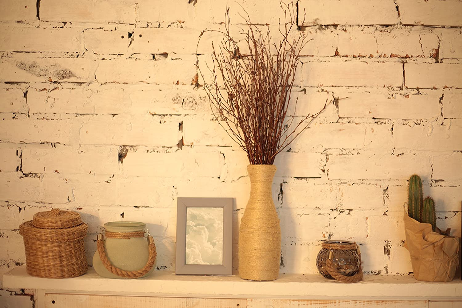 Set of 2 Bundles 100 twigs Birch Branches for craftwork or vase decoration