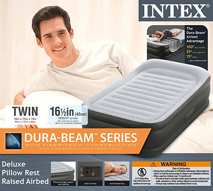 Amazon.com: Intex Twin Deluxe Pillow Rest Fiber-Tech Airbed Raised Air Mattress with Pump: Home & Kitchen