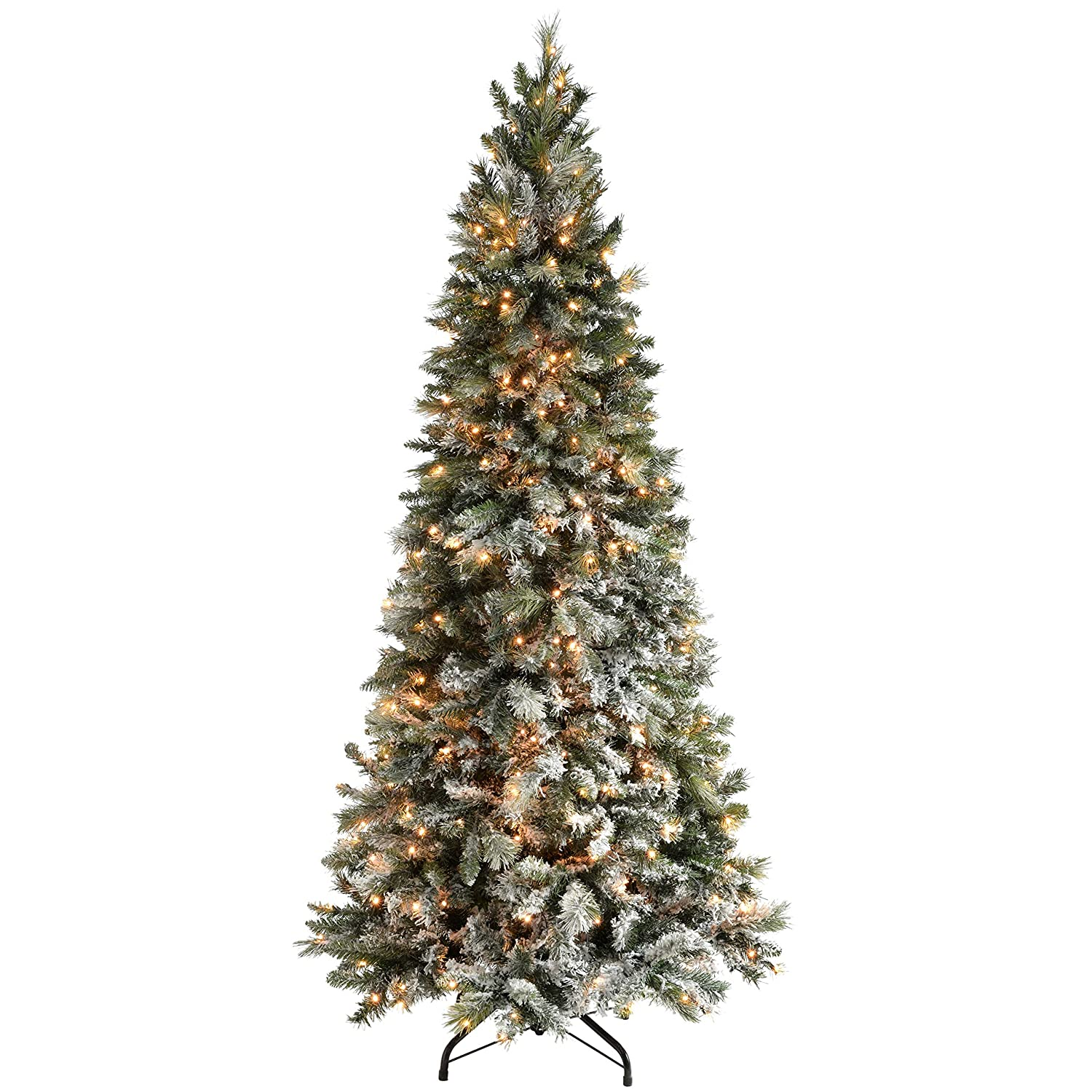 7ft 2 1m Slim Snow Flocked Spruce Pre Lit Christmas Tree With 400 Warm White Led Lights With Easy Build Hinged Branches