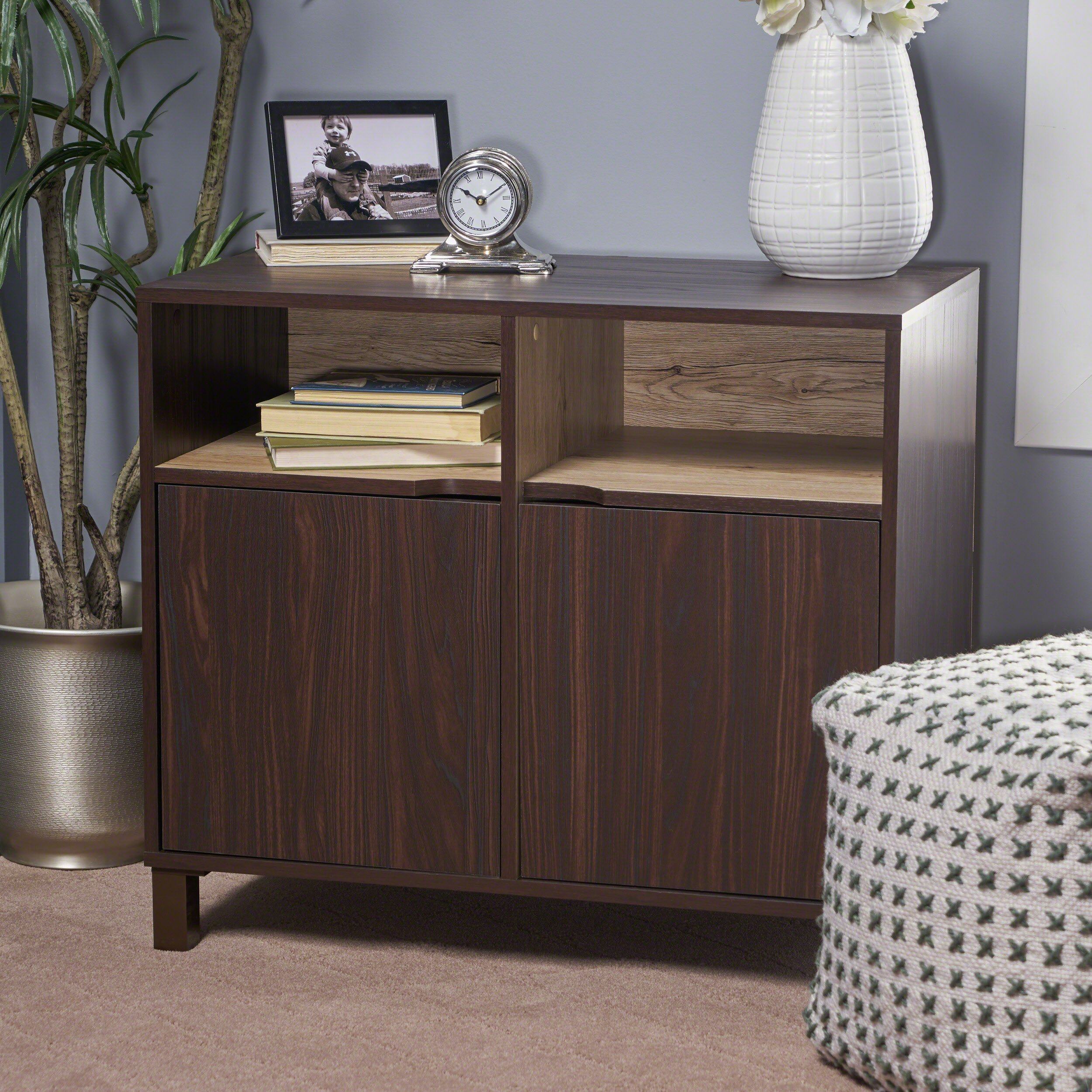 Provence 2-Shelf Walnut Finished Faux Wood Cabinet with Sanremo Oak Interior by Great Deal Furniture (Image #1)