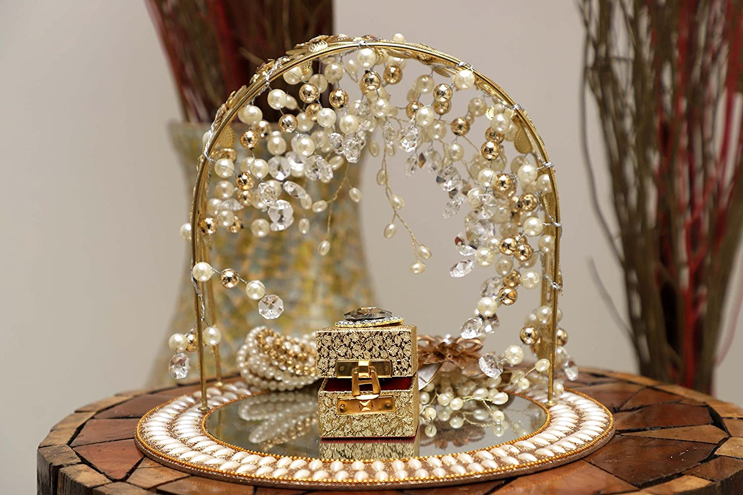 Buy Giftingbestwishes Tray Decorative Tray Engagement Ring Platter Engagement Ring Tray Pearl Drop Online At Low Prices In India Amazon In