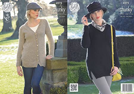 ac16757bb31b Image Unavailable. Image not available for. Colour  King Cole Ladies Magnum  Chunky Knitting Pattern Womens V Neck Cardigan ...