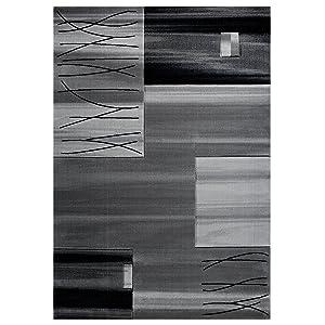 Vimoda Salón Alfombra Cuadros Rayas en Gris Tejido Espeso Cuidado fácil sin Materiales nocivos Suelo Radiante 80x 150cm
