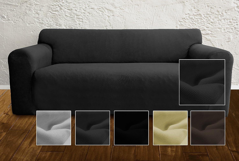 Housse de canapé ambivelle housse stretch biélastique revêtement de canapé pour de nombreux canapés 2 places courants anthracite amazon fr cuisine