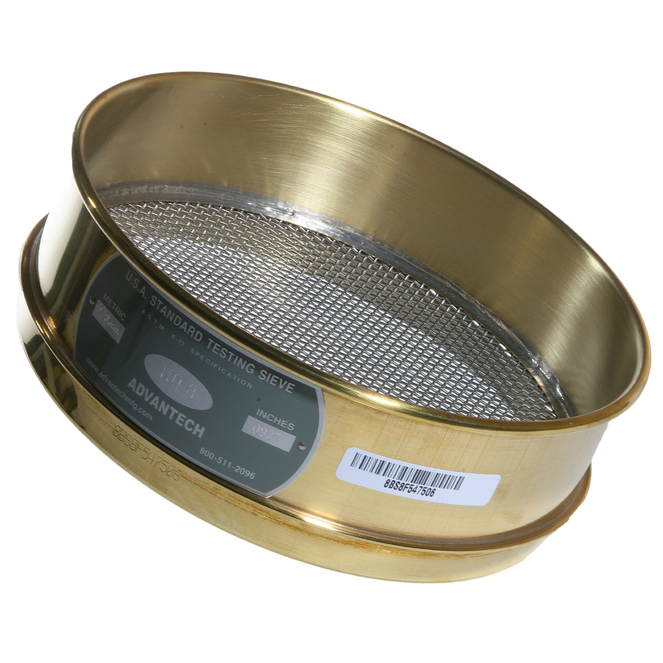 Advantech Brass Test Sieves with Stainless Steel Wire Cloth Mesh, 8'' Diameter, #8 Mesh, Full Height