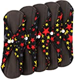 Wegreeco Bamboo Reusable Sanitary Pads - Cloth Sanitary Pads - Pack of 5 (Small, Twinkle Star)
