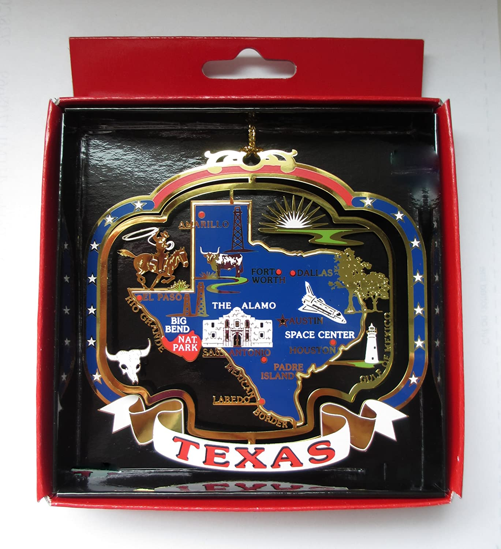 TEXAS ORNAMENT Brass State Landmarks Souvenir Gift