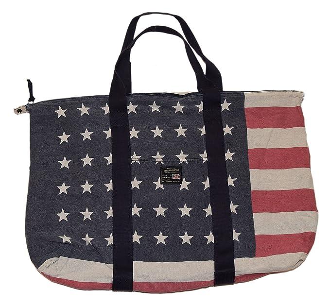 b4084c6aef Polo Ralph Lauren Denim Supply Jute Tote Bag USA American Flag Stars Navy  Red  Amazon.ca  Clothing   Accessories