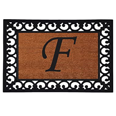 Home & More 180041925F Inserted Doormat, 19  X 25  x 0.60 , Monogrammed Letter F, Natural/Black