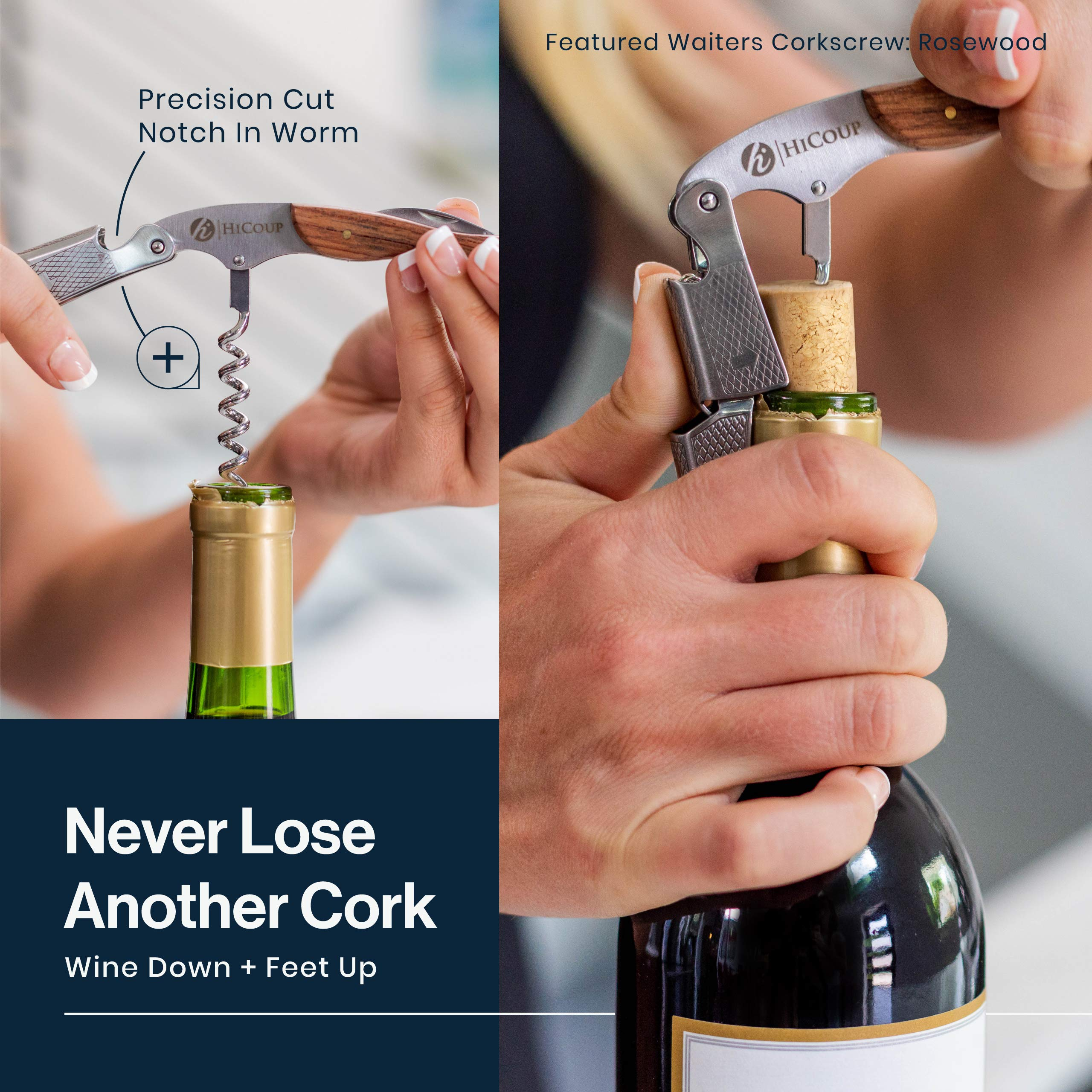 The Favored Choice of Sommeliers Waiters and Bartenders Around The World Professional Waiter/'s Corkscrew by HiCoup Bai Ying Wood Handle All-in-one Corkscrew Bottle Opener and Foil Cutter