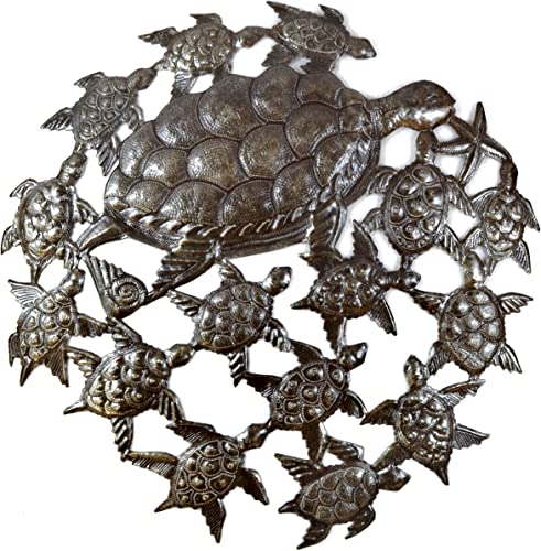 it s cactus – metal art haiti Sea Life Wall Hanging Home Decor, Decoration Great for Bathroom Kitchen or Patio, Nautical, Fish, Turtles, Ocean, Beach Themed, 24 in. x 24 in. SEA Turtles