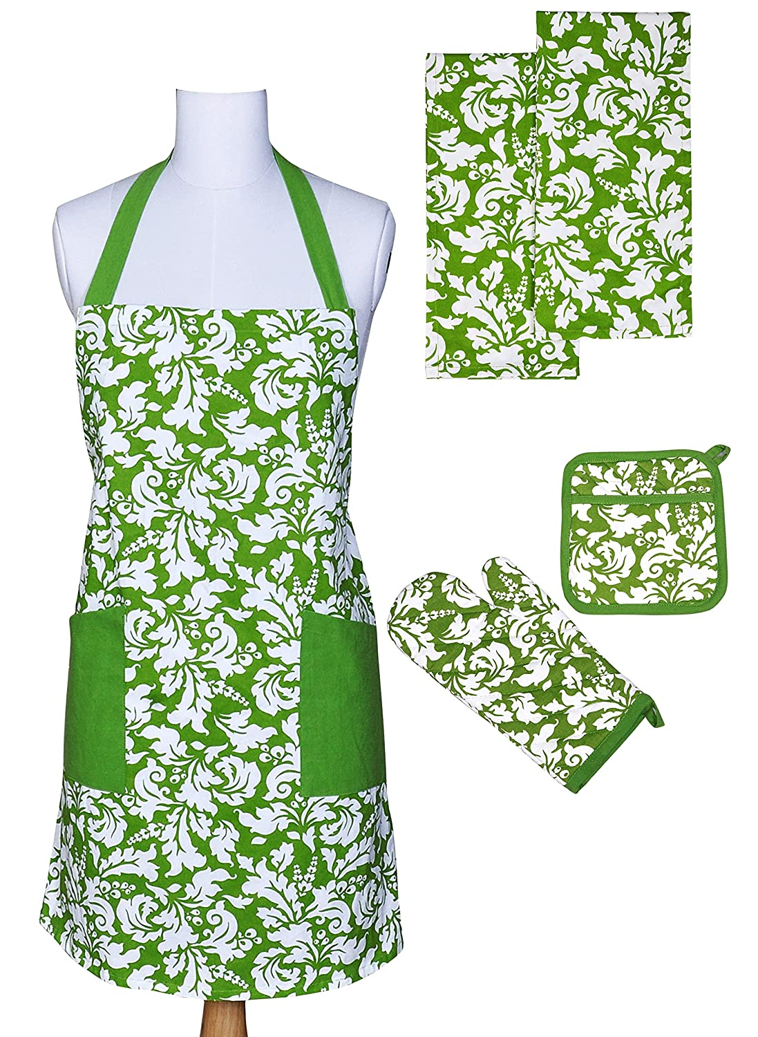 Yourtablecloth Kitchen Gift Set-1 Kitchen Apron, An Oven Mitt & A Pot Holder-2 Kitchen Dish Towels or Tea Towels-Ideal Cooking Gifts or Gift Ideas for Chefs-Suitable for Men & Women-Apple Green