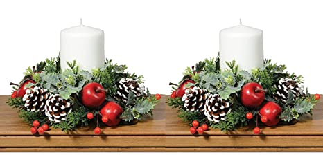Christmas Candle Rings.Set Of 2 Christmas Artificial Pine Candle Rings With Apples Berries Pine Cones And Holly