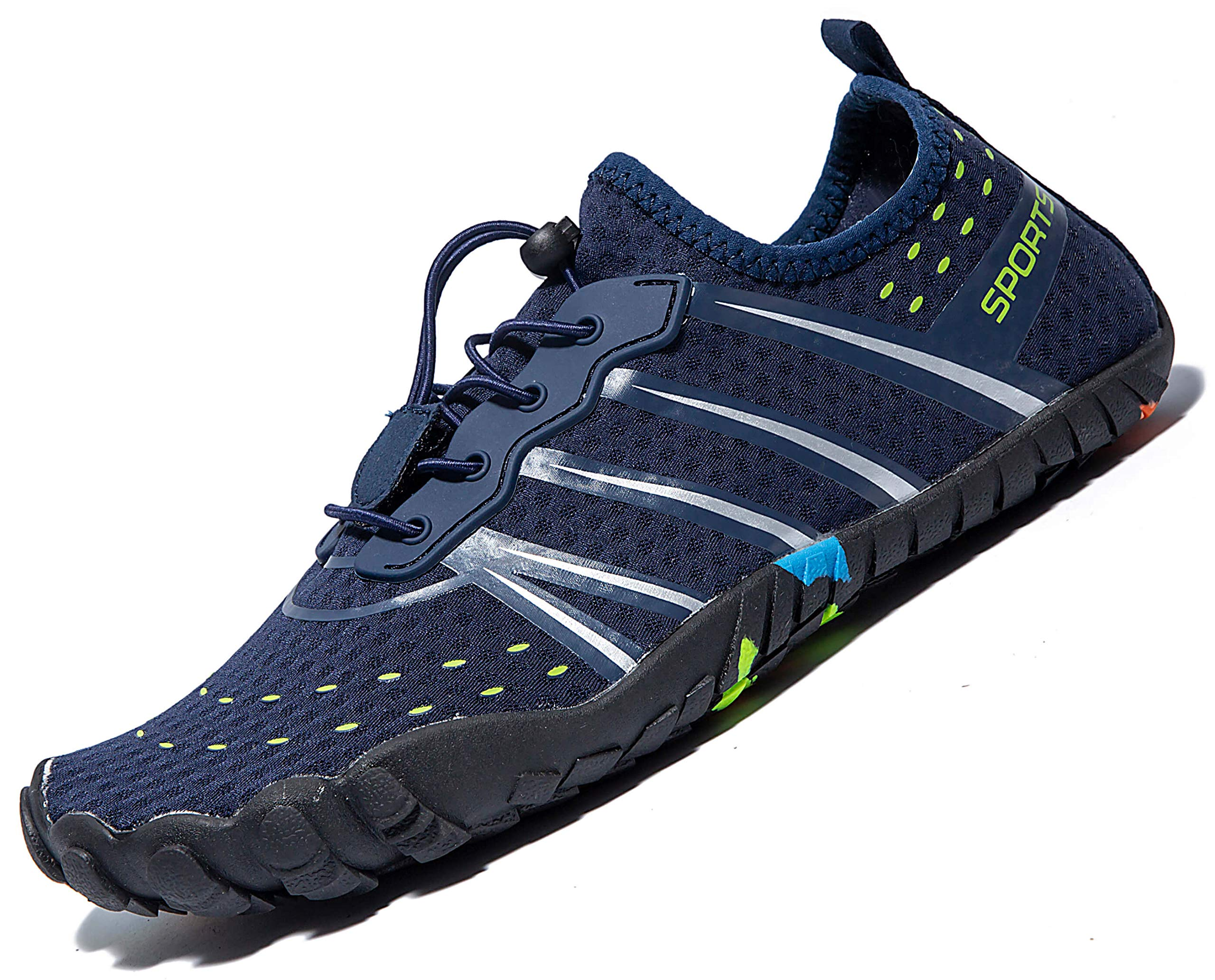 LINGTOM Mens Womens Aqua Water Shoes Quick Dry Barefoot Sports Exercise for Walking Swimming Diving Beach Surf Pool Yoga,Dark Blue 12.5 M US Women / 11 M US Men by LINGTOM (Image #2)